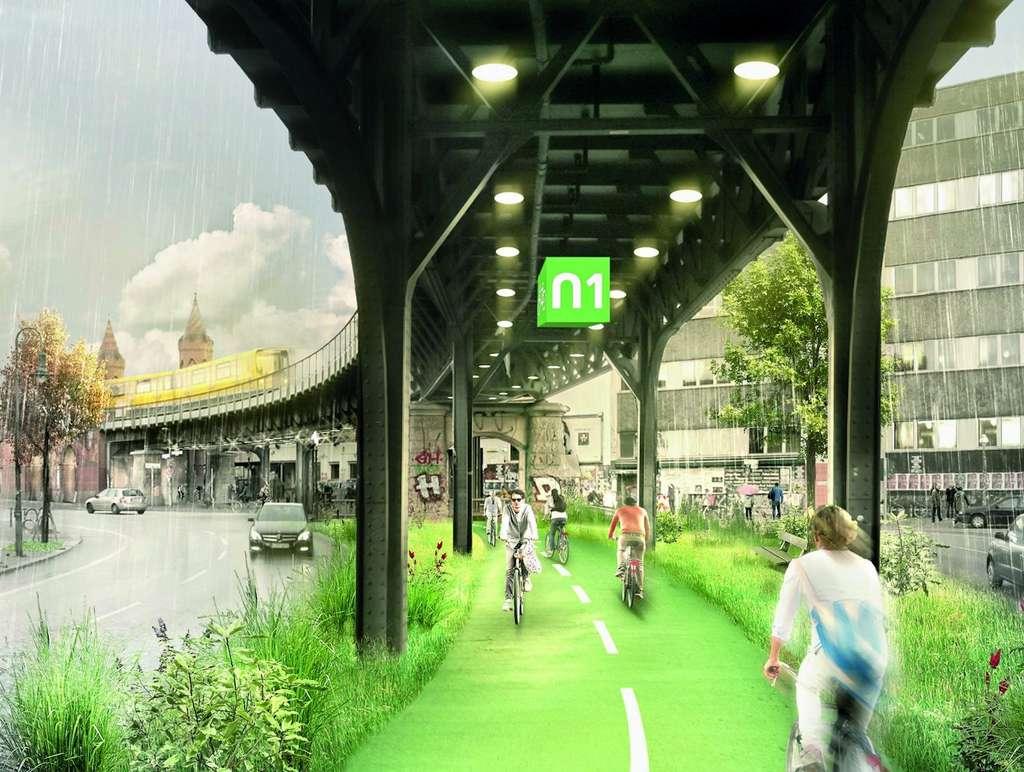 La piste cyclable Radbahn devrait ouvrir en 2021 (Berlin, Allemagne). © Paper planes e.V., BYCS