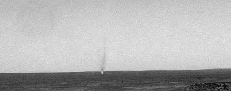 Tornade observée le 26 février 2007 par Spirit. NASA.