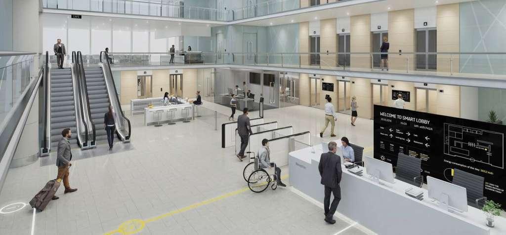 Les bureaux aussi deviennent plus intelligents, de l'accueil aux escalators, en passant par l'éclairage. © Tous droits réservés