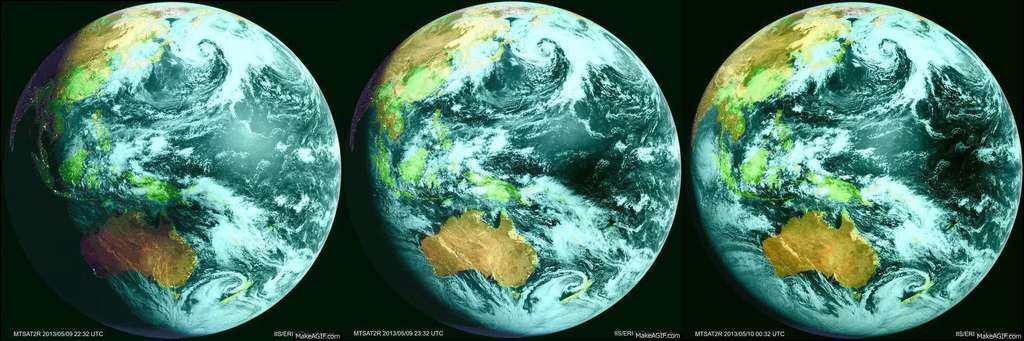 Le satellite géostationnaire japonais Himawari a photographié d'heure en heure le déplacement de l'ombre lunaire sur le globe terrestre, au cours de l'éclipse solaire du 10 mai 2013. © MSC, JMA