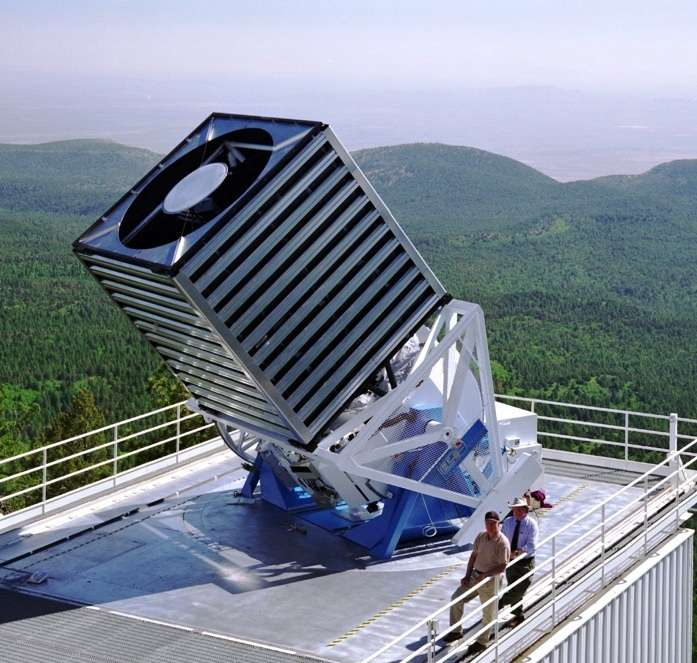 Le Sloan Digital Sky Survey (SDSS) est l'une des campagnes d'observations les plus ambitieuses et les plus influentes de l'histoire de l'astronomie. Pendant huit ans (SDSS-I de 2000 à 2005, puis SDSS-II de 2005 à 2008), les scientifiques ont obtenu des images d'objets distants couvrant plus d'un quart du ciel. Cela a permis de créer des cartes en trois dimensions contenant plus de 930.000 galaxies et plus de 120.000 quasars. La campagne SDSS-III est en cours jusqu'en 2014. Les observations ont été réalisées avec le télescope à l'image. © SDSS Team, Fermilab Visual Media Services