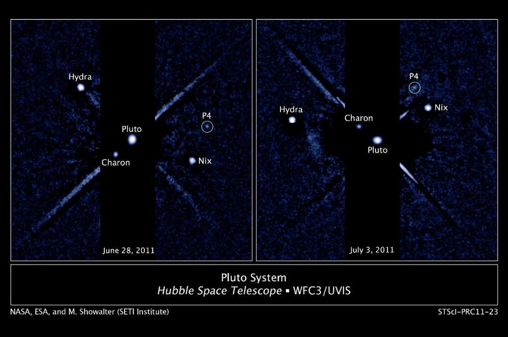Pluton et les quatre satellites qu'on lui connaît, vus (un bien grand mot) par Hubble en 2011. © Nasa/Esa/M. Showalter (Seti Institute)