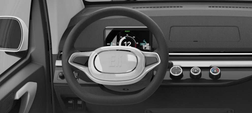 """L'intérieur de l'Eli Zero est sans fioritures et le style général nettement moins """"fun"""" que celui de la Citroën Ami. © Eli Electric Vehicles"""