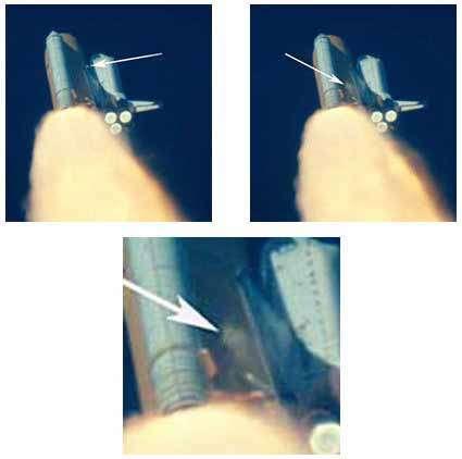 Suite d'images montrant le débris se détachant du réservoir ventral et heurtant la navette. Crédit Nasa
