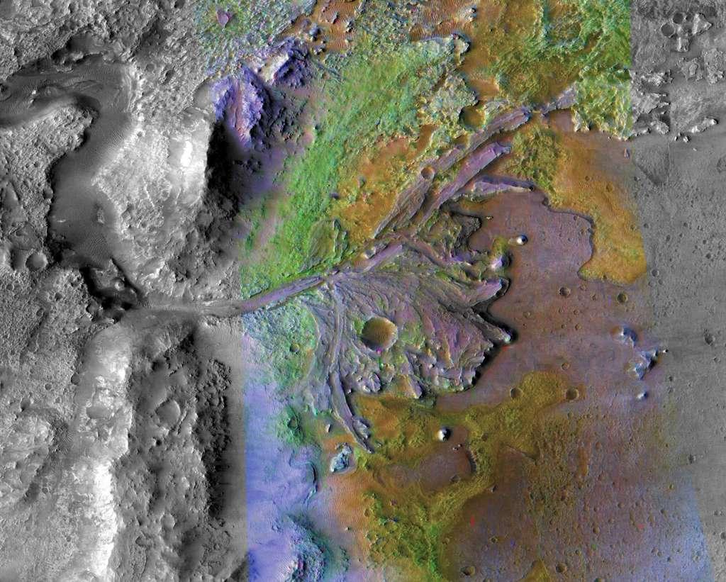 Le cratère Jezero, site d'atterrissage du rover Mars 2020. © Nasa/JPL-Caltech/MSSS/JHU-AP
