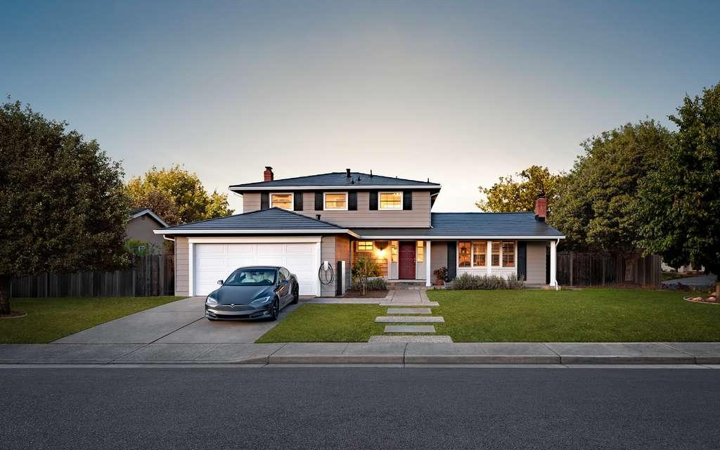 Baptisée Sunhouse, voici à quoi pourrait ressembler le quartier résidentiel d'Austin (Texas) version Elon Musk. © Tesla, Solar roof
