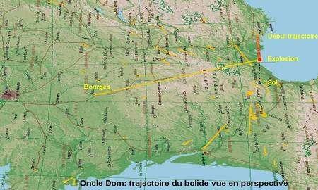 Reconstitution 3D de la trajectoire du bolide réalisée par Oncle Dom. L'objet s'est désintégré complètement vers 50 kilomètres d'altitude, donc dans la partie supérieure de la stratosphère, au-dessus d'un point situé au nord-ouest de Béziers.