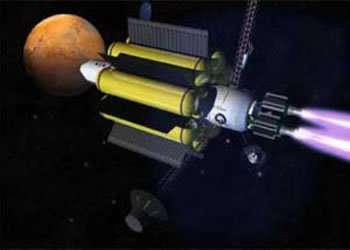L'une des idées envisagées par la NASA : disposer les réservoirs tout autour du module d'habitation pour protéger l'équipage Ce concept avait déjà été évoqué en 1936 par l'auteur de Science-Fiction John W. Campbell (Crédits : NASA)