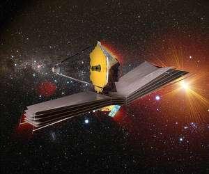 Avec un miroir déployable de 6,5 mètres, James Webb surpasse Herschel (3,5 m mais d'un seul tenant) et l'historique télescope spatial Hubble et son miroir de 2,4 m. © Esa