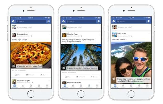 Sur ces exemples de photos, le système de reconnaissance d'objets sait identifier la présence d'une pizza, d'arbres, de deux personnes souriantes portant des lunettes de soleil se trouvant à l'extérieur et à proximité de l'eau. © Facebook