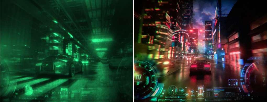 À gauche, l'image visible dans les lunettes. À droite, l'image obtenue avec un prototype de plus grande taille. © Facebook