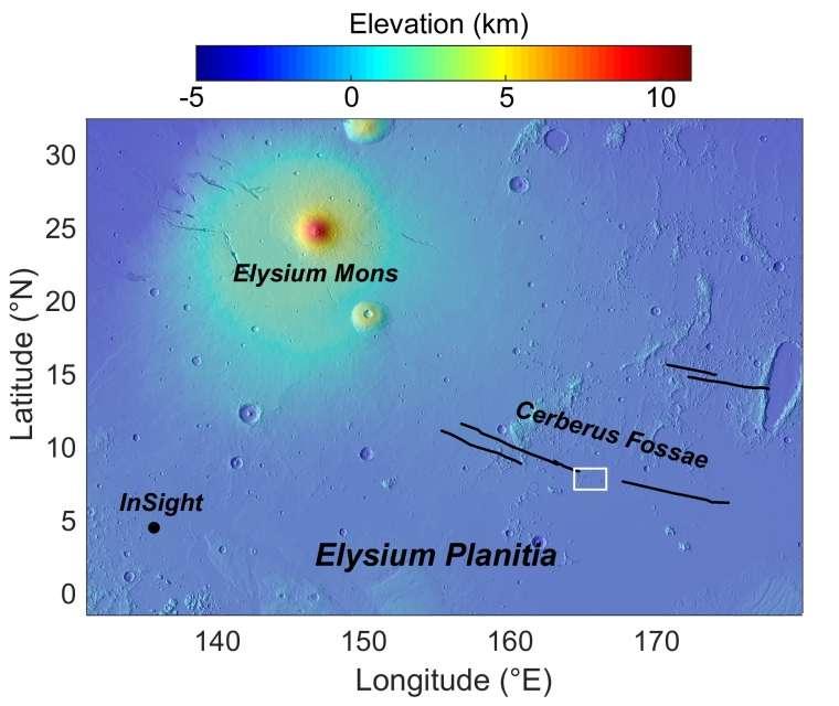 Une carte de la région. C'est dans la zone marquée d'un rectangle blanc que les astronomes de l'université de l'Arizona ont identifié un gisement volcanique récemment actif. © Mola Science Team