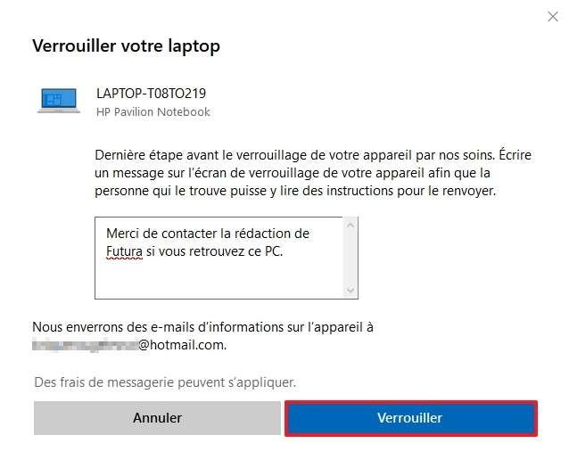Cliquez une dernière fois sur « Verrouiller » pour terminer la procédure de verrouillage. © Microsoft