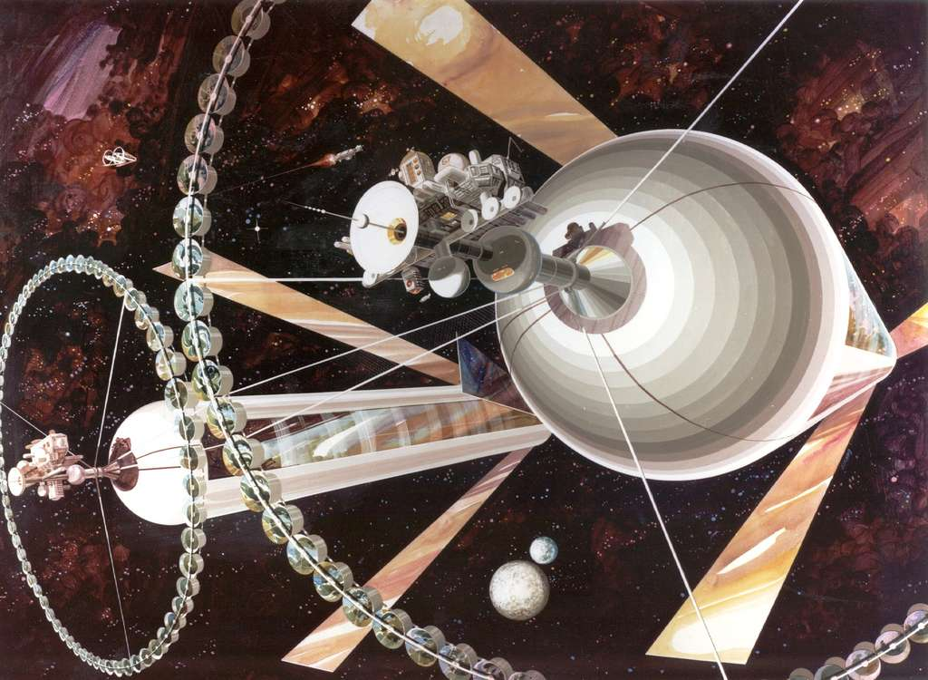 Les colonies spatiales cylindriques creuses de Gerard O'Neill. © Nasa Ames Research Center