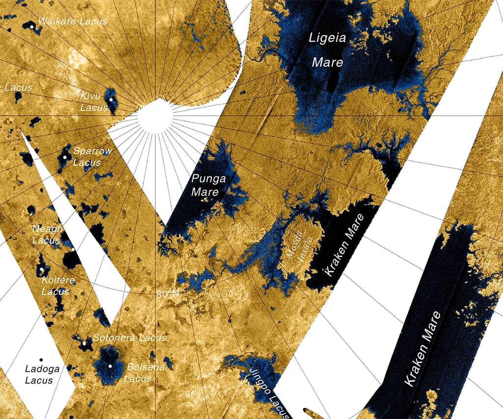Carte des principaux lacs et mers d'hydrocarbures qui s'étendent près du pôle nord de Titan. Kraken Mare, Ligeia Mare et Punga Mare sont les plus vastes à la surface de cette lune de Saturne. © Nasa, JPL, USGS