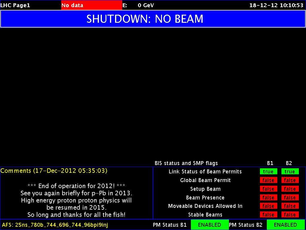 Le Cern fait un clin d'œil à H2G2, lorsque les dauphins quittent la Terre qu'ils savent condamnée à la destruction. On peut en effet lire sur cet écran donnant l'état des faisceaux dans le LHC la mythique phrase : « So long and thanks for all the fish ». © Cern