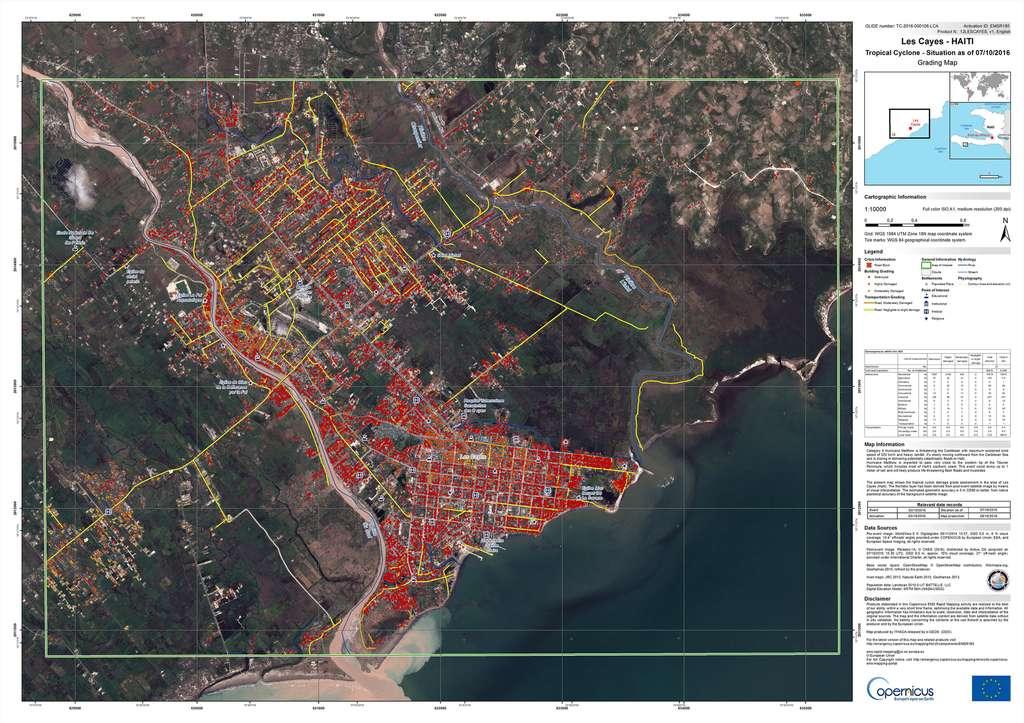 Les dégâts de l'ouragan Matthew à Haïti : un exemple de carte produite par le service de cartographie d'urgence du programme européen Copernicus. © Commission européenne