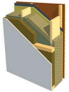 Une ossature bois avec un complément d'isolation par l'intérieur au moyen de panneaux haute densité. © DR