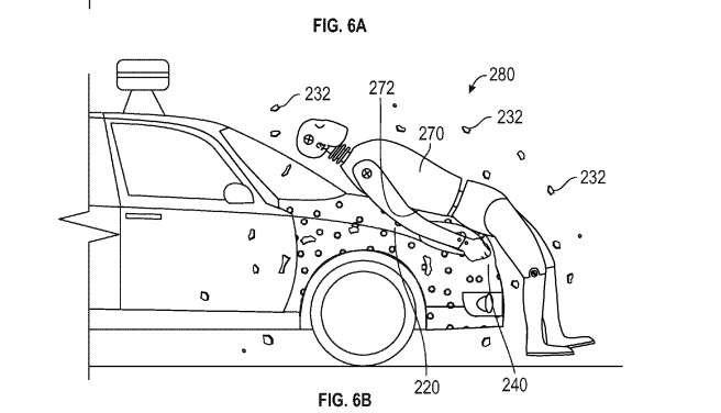 Voici un dessin issu du brevet déposé par Google. En cas de choc, le piéton resterait collé sur la capot grâce au revêtement adhésif. Celui-ci serait protégé par un film pour empêcher que la voiture ne se transforme en attrape-mouches géant… © Google