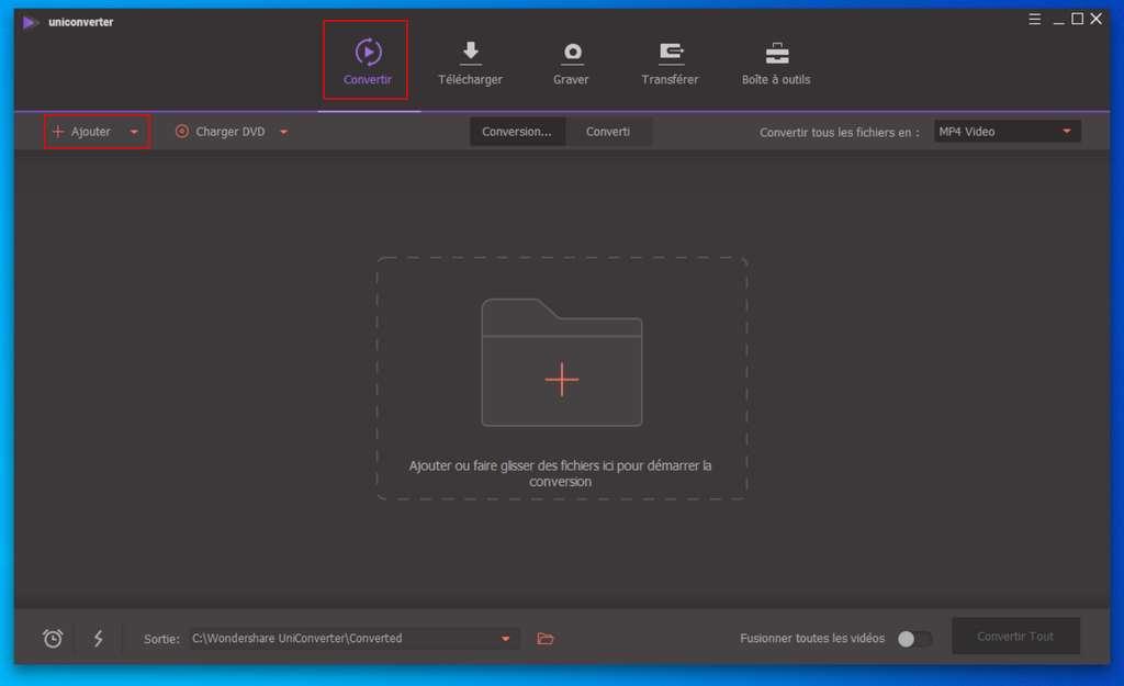 Rendez-vous dans le module de conversion pour manipuler vos vidéos a posteriori. ©Wondershare