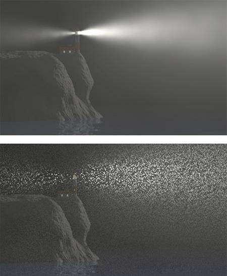 Le test présenté à Eurographics 2008. Les deux images ont été obtenues sur le même ordinateur avec le même temps de calcul. En bas, le logiciel a utilisé la classique méthode du lancer de rayons. En haut, le nouvel algorithme démontre son incontestable supériorité. © W. Jarosz, H. Wann Jensen, M. Zwicker/UCSD