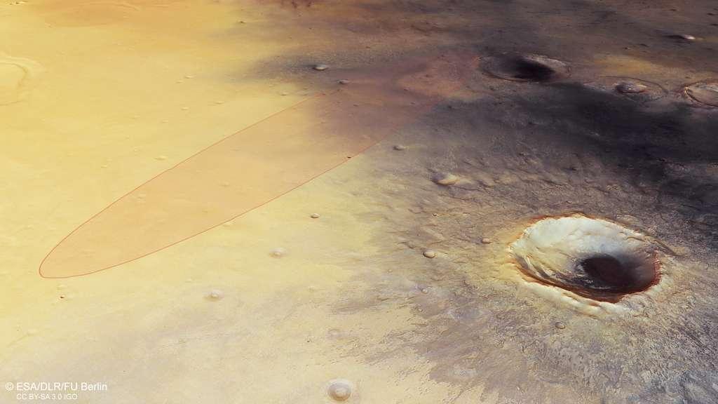 Dans la plaine Méridiani, l'ellipse d'atterrissage, à l'intérieur de laquelle doit atterrir Schiaparelli photographiée par la sonde Mars Express de l'Agence spatiale européenne. © ESA, DLR