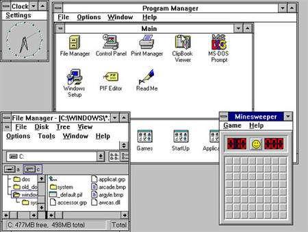 Windows 3.1 et ses fenêtres que Microsoft n'avait jamais vraiment osé repenser radicalement depuis © Microsoft