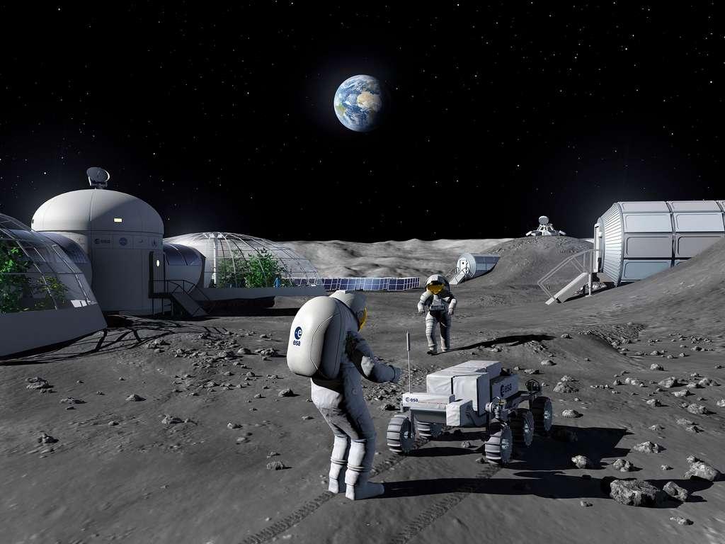 Avec l'établissement de postes avancés et l'installation d'une base permanente sur la Lune, les industriels européens qui ne sont pas du secteur spatial pourraient trouver un intérêt à participer à des programmes liés au retour de l'Homme sur la Lune. © ESA, P. Carril