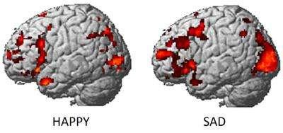 Exemples d'images du cerveau par IRMf trahissant des sentiments heureux (à gauche) ou triste (à droite). © Université Carnegie-Mellon, DP