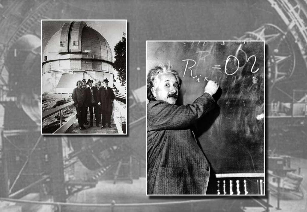 Albert Einstein est ici en visite au Mont Wilson, là-même où Hubble a découvert l'expansion de l'univers. © Lawrence Berkeley National Laboratory