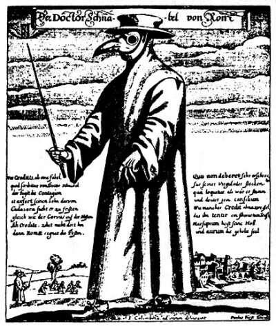 Représentation d'un médecin de peste portant un masque de protection. © Wikimedia Commons, DP