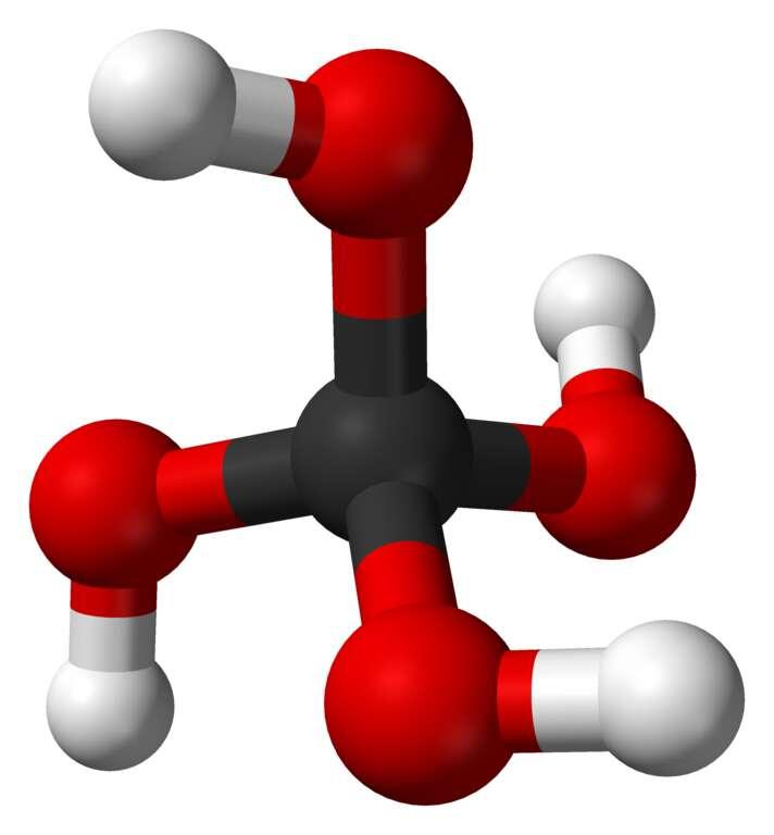 L'acide orthocarbonique est parfois aussi appelé l'acide d'Hitler pour des raisons évidentes quand on voit sa formule dans l'espace. © via Wikipédia, DP