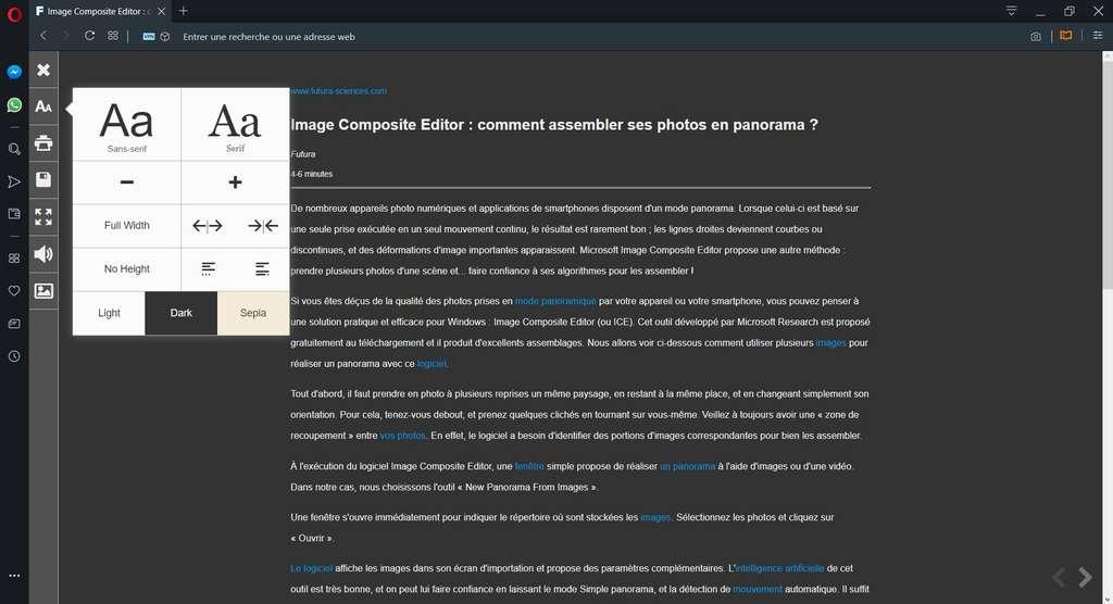 Visualisation d'un article sur Futura-Sciences avec Opera et l'extension Reader View personnalisée. © Opera Software