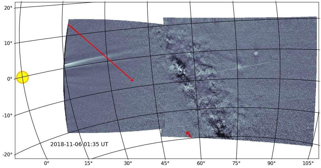 Sur cette image prise par Wispr de la sonde Parker Solar, la traînée de débris laissés par Phaéton. © Brendan Gallagher, Karl Battams, NRL