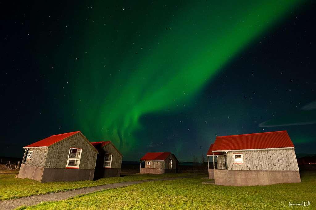 Aurore boréale à Austurland, en Islande