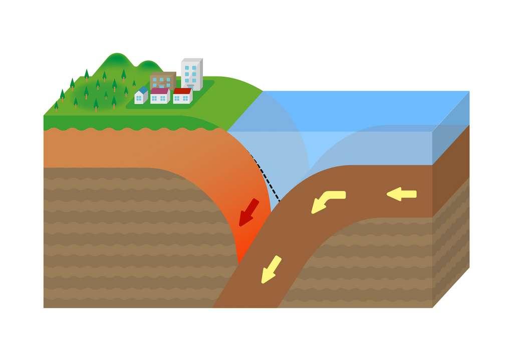 Actuellement, la croûte continentale se forme par « recyclage » de roches dans le manteau, dans les zones de subduction. © barks, Adobe Stock