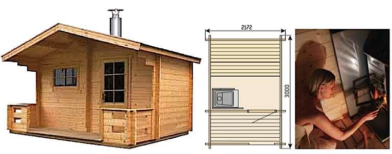 Nombre de saunas de jardin sont équipés d'un poêle à bois (et d'un conduit de cheminée) à la mode scandinave. Les vieux poêles fumants ont depuis longtemps laissé la place à des appareils hautement performants, pratiques d'emploi et respectueux de l'environnement. Leur pose exige le respect de règles strictes de sécurité. Les puissances calorifiques vont de 4,5 à + 40 kW et sont à adapter aux volumes à chauffer. © harvia.fr