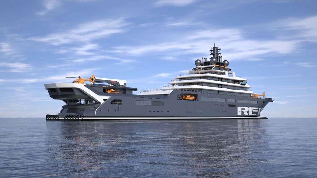 Le Research Expedition Vessel (REV) mesurera 183 mètres de long, deux fois plus que les bateaux scientifiques actuels. © REV Ocean