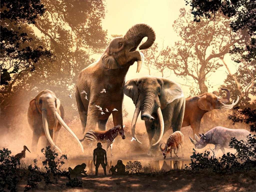 Par le passé, plusieurs espèces de proboscidiens pouvaient se côtoyer. Selon cette vue d'artiste, des Australopithèques observent cette diversité dans ce qui serait le Kenya actuel. © Julius Csotonyi