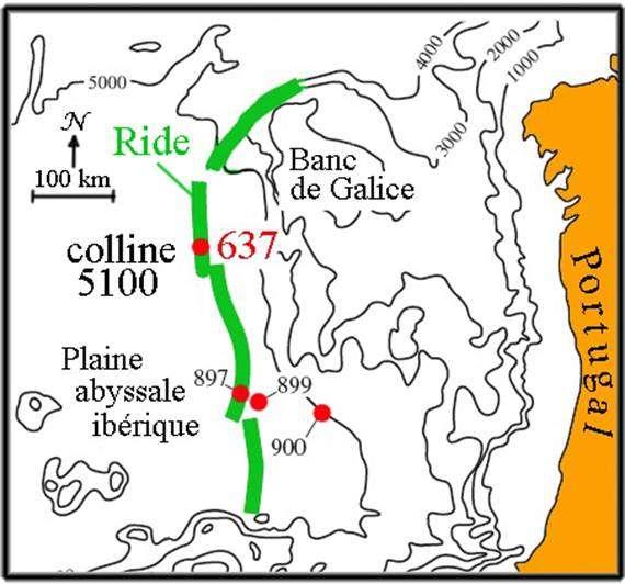 La colline 5100 de la marge de la Galice sera un lieu d'exploration privilégié, pour le Noroit et le JOIDES Resolution. © DR