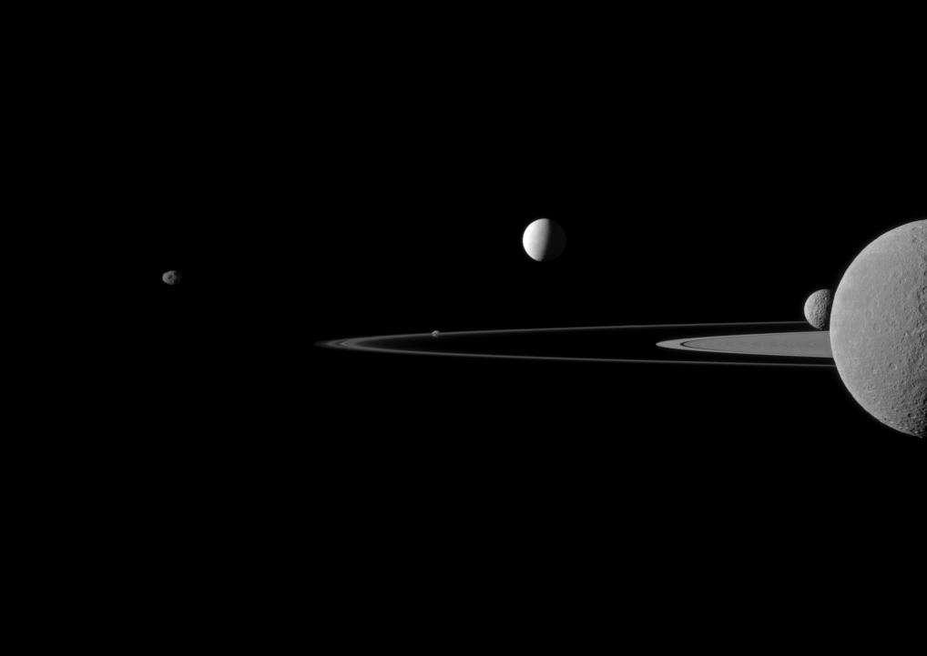 Janus, Pandore, Encelade et Rhéa