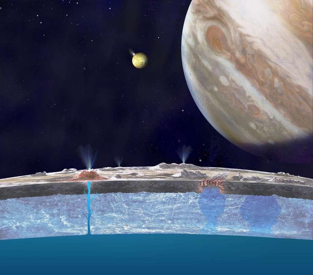Une vue d'artiste en coupe de la banquise d'Europe. Des diapirs de glace salés sont en train de remonter à droite, alors qu'Io est bien visible en éruption à gauche de Jupiter. Un cryovolcan est actif à gauche sur la surface d'Europe. © Nasa, JPL-Caltech