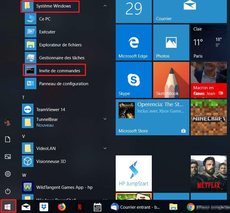 Cherchez l'invite de commandes dans le menu de démarrage Windows. © Microsoft