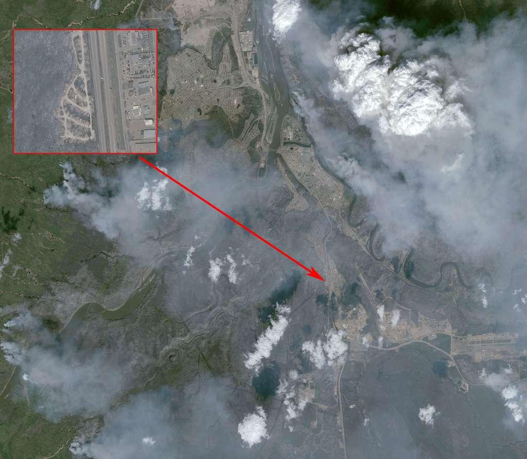 Image acquise par le satellite Pléiades le 6 mai. La résolution n'est que de 50 cm mais la largeur du champ montre bien l'étendue des dégâts. © Cnes 2016, Distribution Airbus DS