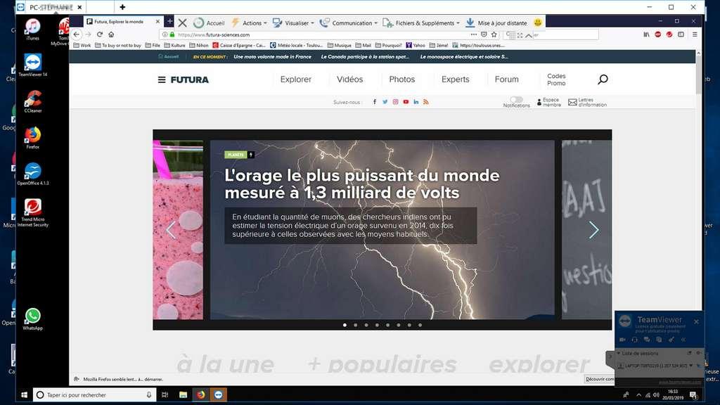 Une fois connecté, vous devez voir l'écran de votre interlocuteur comme si vous étiez devant. © TeamViewer GmbH