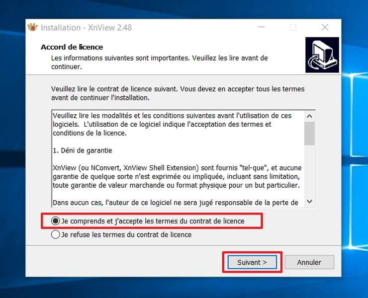 Acceptez les termes du contrat de licence. © XnSoft