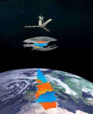 Les trois bras de l'instrument Miras observent un hexagone de 1.000 km de largeur. © Esa