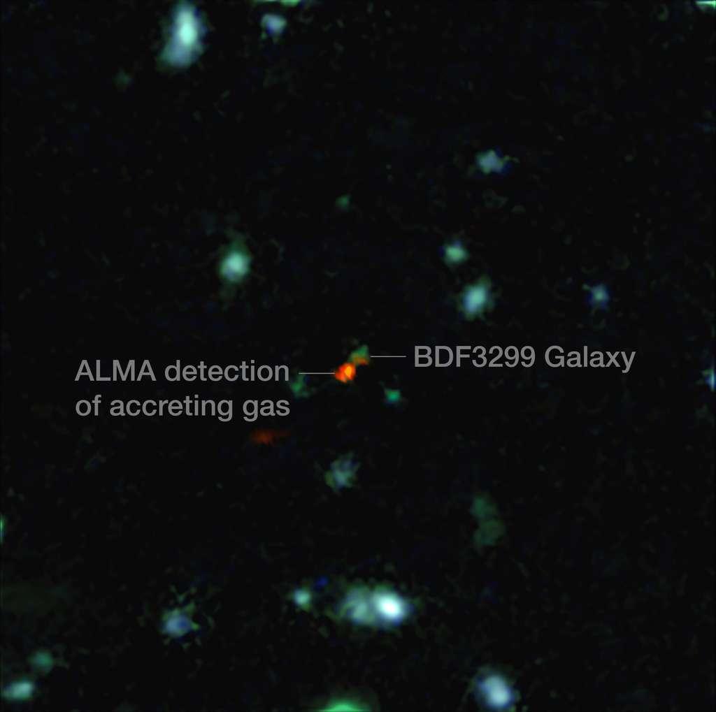 Sur cette image composite d'Alma et du VLT, on découvre la galaxie BDF 3299 comme elle était 800 millions d'années seulement après le Big Bang. La tache rouge est un vaste nuage de matière détecté par Alma qui participe à la formation de la jeune galaxie. © Eso, R. Maiolino