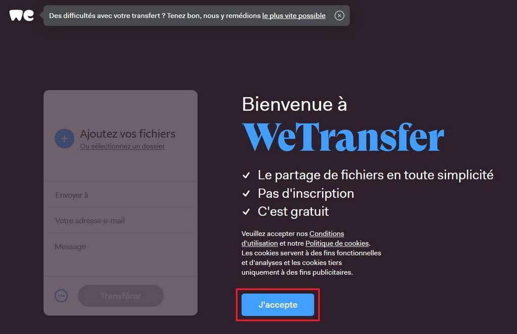 Acceptez les conditions générales d'utilisation en cliquant sur le bouton « J'accepte ». © WeTransfer B.V