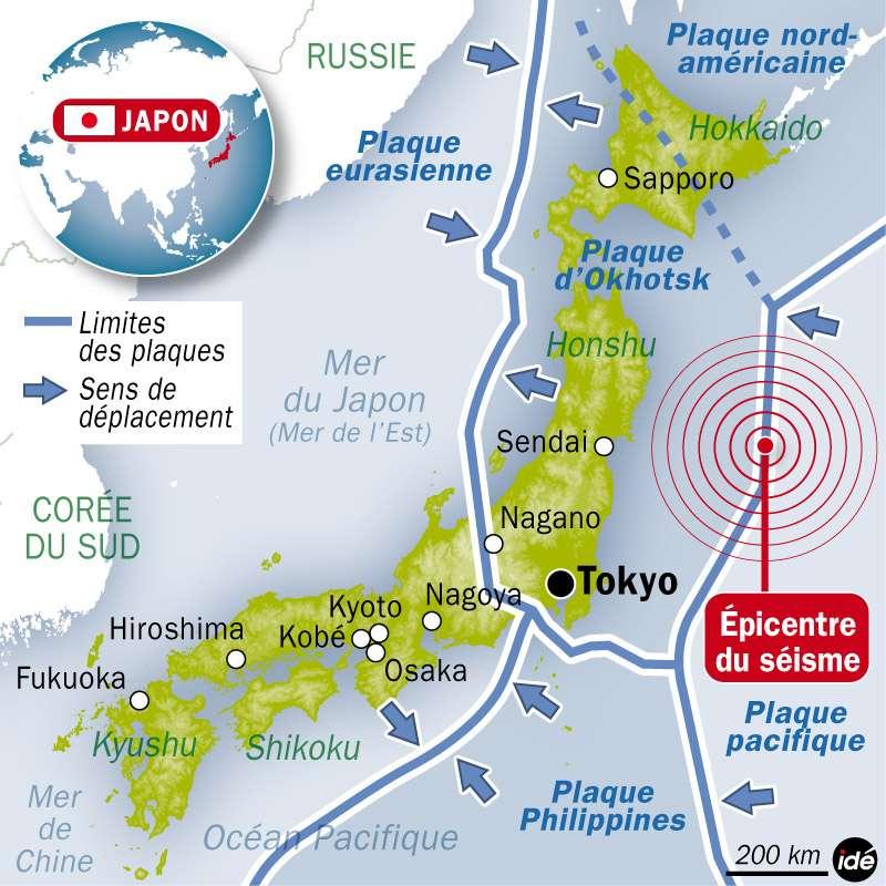Le Japon se situe à la rencontre de quatre plaques lithosphériques qui plongent les unes sous les autres, créant des zones de subduction. Le 11 mars 2011, la plaque Pacifique a brusquement glissé vers l'ouest. La longueur de la faille concernée, entre 400 et 500 km, est exceptionnellement grande. © Idé